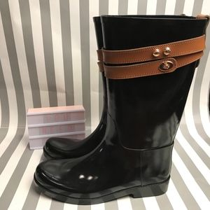 COACH Tara Rainboot 10 Ladies Black Rubber Rain